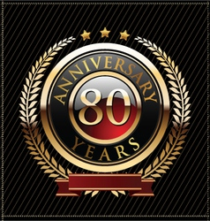 80 years anniversary golden label vector