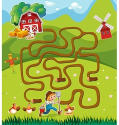 Game template with farmer in the farmyard vector