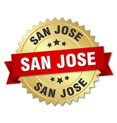 San jose round golden badge with red ribbon vector