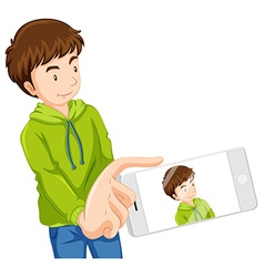 Man taking picture with phone vector