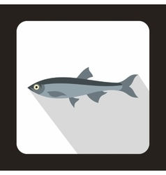 Herring fish icon in flat style vector