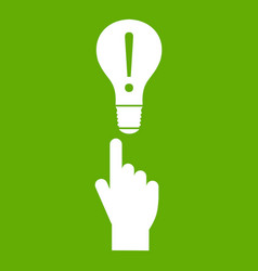 a finger pointer and light bulb icon green vector image