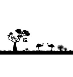 Australian landscape black silhouette of emu vector