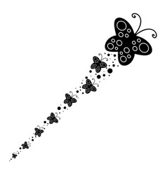 Black silhouette of a large butterfly vector