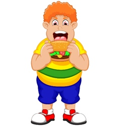 Cartoon fat man eating burger vector