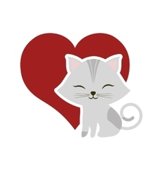 Cat clossed eyes red heart vector