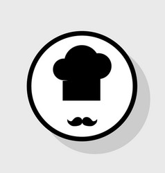 Chef hat and moustache sign flat black vector