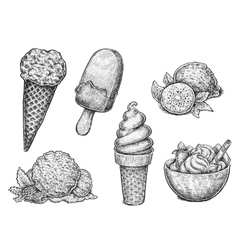 Collection of hand drawn ink sketches of ice cream vector image