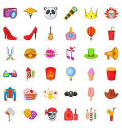 Costume party icons set cartoon style vector