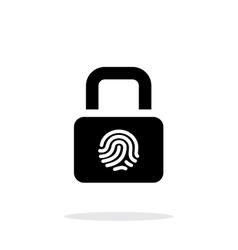 Fingerprint secure lock icon on white background vector