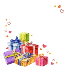Gifts for valentines day watercolor vector