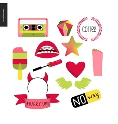 Girlish icons set vector image vector image