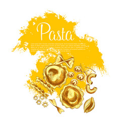 Italian pasta and spaghetti sketch poster design vector