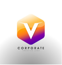 Letter v logo corporate hexagon with letter v vector