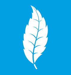 Narrow toothed leaf icon white vector