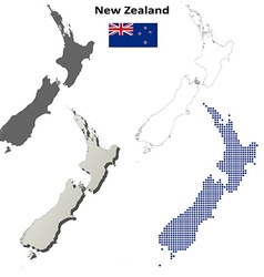 New zealand outline map set vector