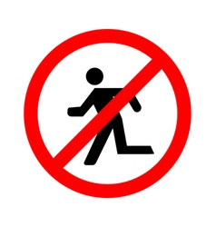 No Run Sign on white background vector image vector image