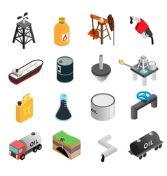 Oil industry isometric 3d icons vector image
