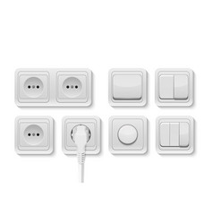 realistic white switches and socket set vector image