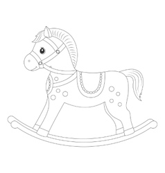 Rocking horse for coloring book vector image vector image