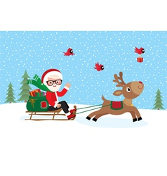 Santa Claus on sledge vector image vector image