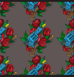 Seamless pattern a gun and a rose on a black vector