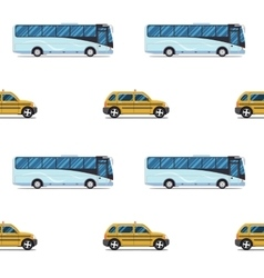 seamless pattern of the cab and passenger bus vector image vector image