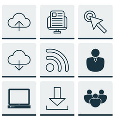 Set of 9 web icons includes pc cursor tap data vector