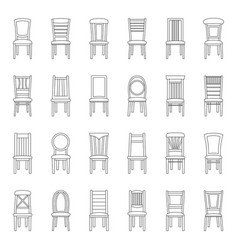 set of icons of chairs vector image