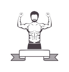 Silhouette half body muscle man with label vector