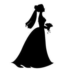 Silhouette of bride vector