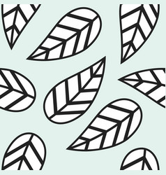 single abstract black and white leaves pattern vector image