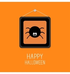 Spider in the picture frame happy halloween card vector