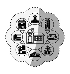 Sticker silhouette pattern with houses logo design vector