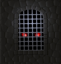 Stone wall and red eyes vector