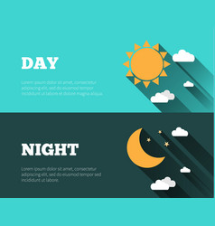 Sun moon stars day and night sky banners vector