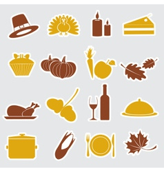 thanksgiving stickers color set eps10 vector image vector image