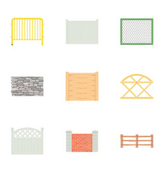 Urban fence icons set cartoon style vector