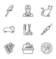 Veterinary animals icons set outline style vector image vector image