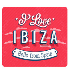 Vintage greeting card from ibiza vector