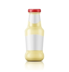 White sauce in glass bottle vector image vector image