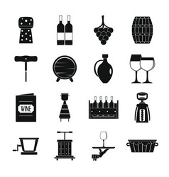 Wine icons set simple style vector