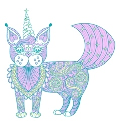 zentangle magic color cat unicorn black vector image