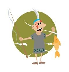 American indian holding a fishing rod and fish vector