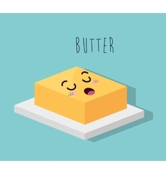 Cartoon butter dessert design isolated vector