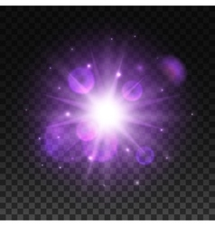 Light shining in space with lens flare effect vector