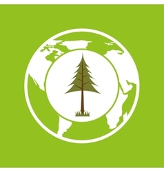 planet earth ecology pine tree icon vector image