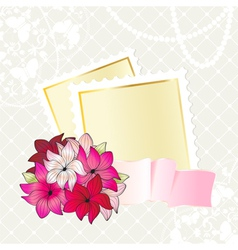 Floral card design with notepaper vector