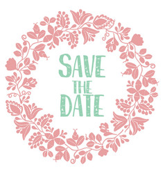 Save the date with pastel wreath card isolated vector