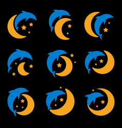 Blue dolphin yellow moon and starry sky logo set vector